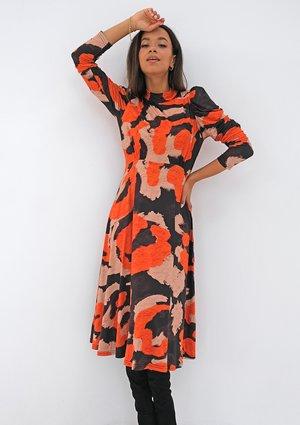 Sukienka z dzianiny soft Pomarańczowy print