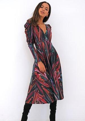 Kopertowa sukienka z dzianiny soft Multikolor print