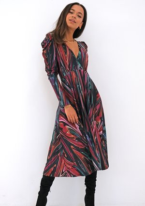 Multicolor printed wrap soft dress
