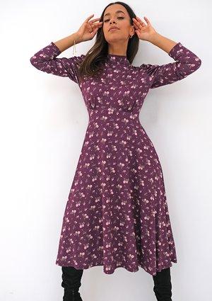Sukienka z dzianiny soft Bordowy print