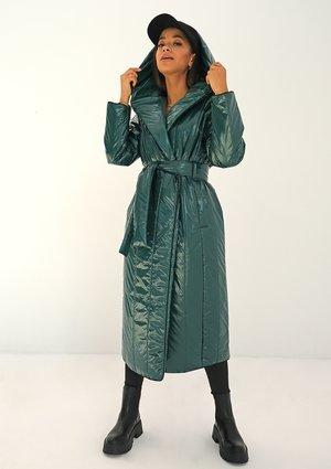 Pikowany płaszcz wiązany w talii Zielony ILM