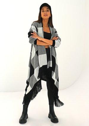 Long black checked cardigan