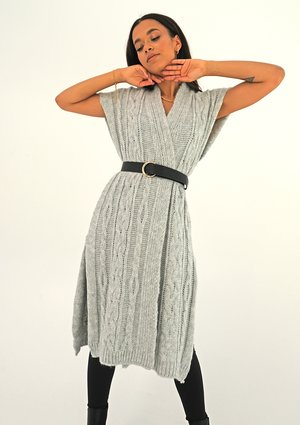 Long grey sleeveless cardigan